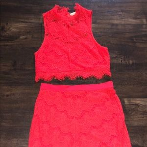 Free People Lace Red Crop Top & Skirt